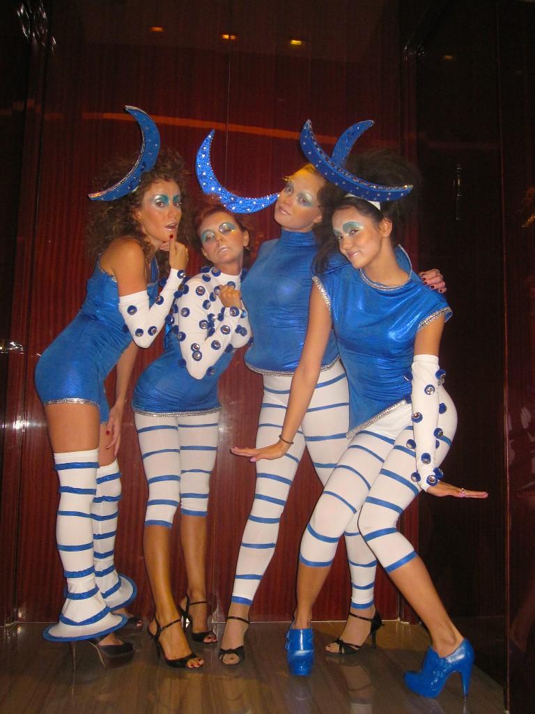 blue white costumes circus