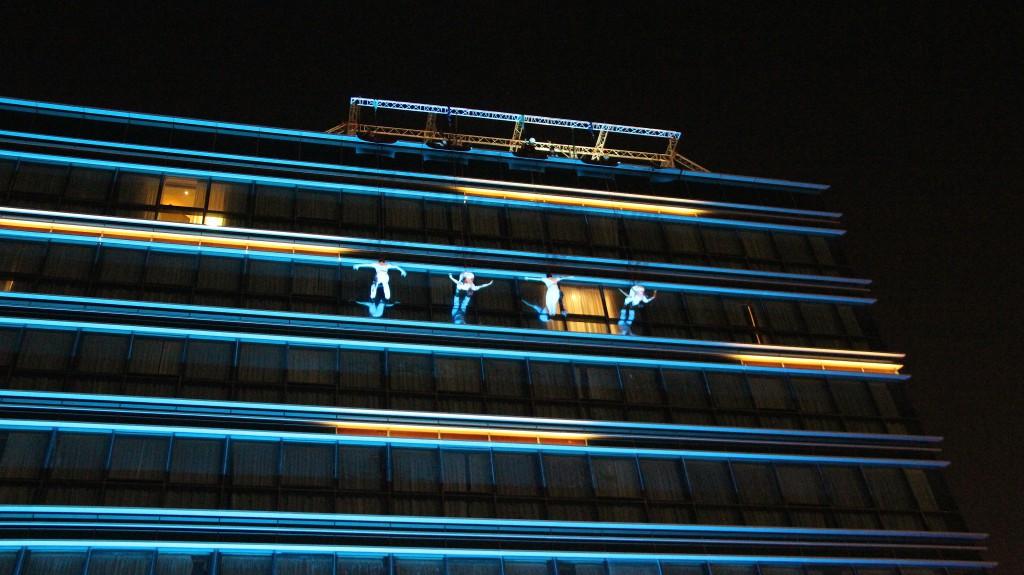 Art in the Air vertical ballet outdoor evening
